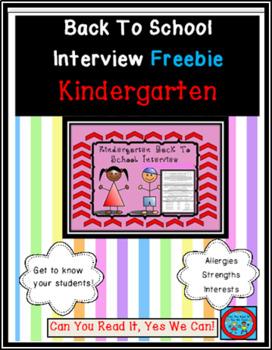 Kindergarten Back To School Interview Information Sheets