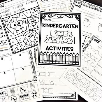 Kindergarten Beginning of the Year Back to School September Activities