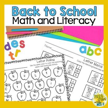 Kindergarten Back to School Activities - Math and Literacy - No Prep