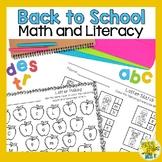 Kindergarten Back to School Activities - Math and Literacy