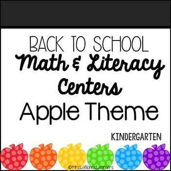 Kindergarten Back to School Apple Math & Literacy Centers