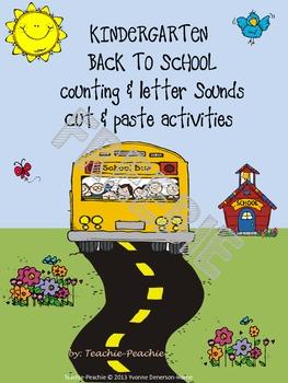 Kindergarten Back to School Counting & Letter Sounds Cut & Paste Activities