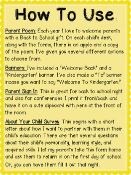 Kindergarten Back to School Forms: Can Edit!