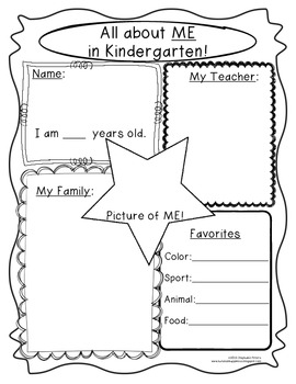 Kindergarten Back to School Journal, Open House, and Mini Star Student Packet