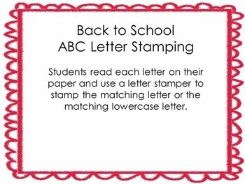Kindergarten Back to School Literacy Center - ABC Center