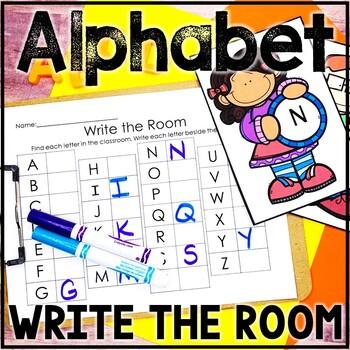 Kindergarten Back to School Literacy Center - ABC Center - Write the Room