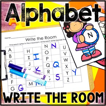 Kindergarten Back to School Literacy Center - ABC Center - Write the Room