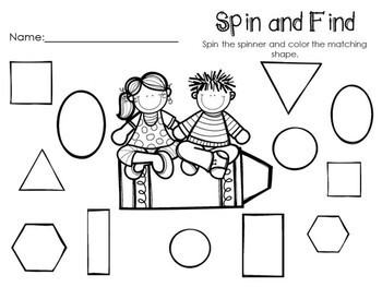 Kindergarten Back to School Math Center - Beginning of the Year - Shapes