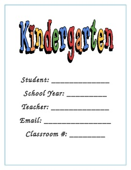 Kindergarten Back to School Parent Packet