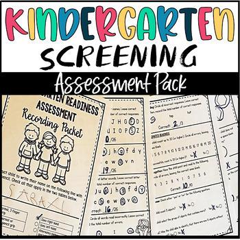 Kindergarten-Back to School Phonics & Math Skills Assessment with Parent Booklet