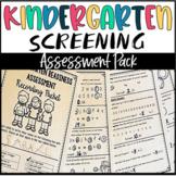 Back to School Kindergarten Screening Assessment for Beginning of the Year