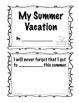 Kindergarten  Back to School Summer Vacation Pack