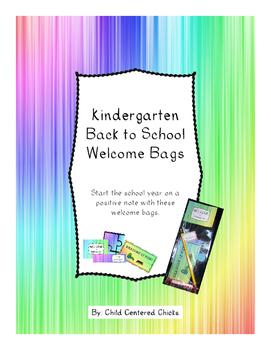 Back to School Welcome Bags Kindergarten