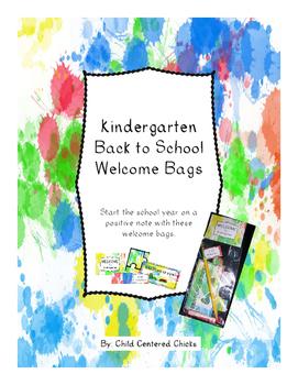Back to School Welcome Bags Kindergarten - Ink Spots