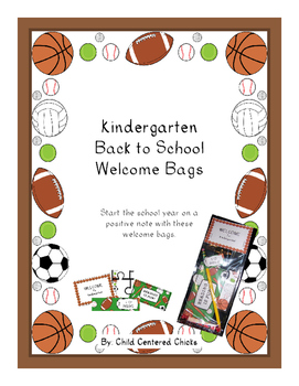 Back to School Welcome Bags Kindergarten - Sports Theme