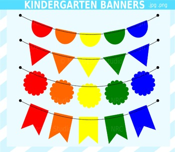 Kindergarten Banner Flags Clip Art for Personal and Commercial Use
