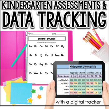 Kindergarten Assessments & Data Tracking for the Year (w/ Digital Tracker)
