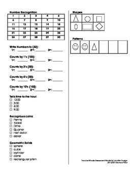Kindergarten Basic Skills Check Sheet