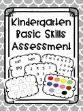 Kindergarten Basics Skills Assessment for Beginning of the Year