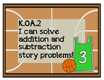 Kindergarten Basketball Math Review (Common Core Aligned)