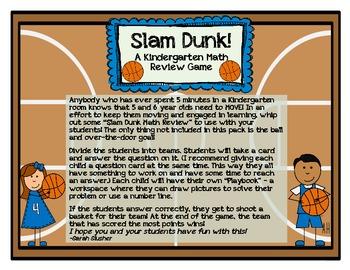 Kindergarten Basketball Math Review (Common Core Aligned)