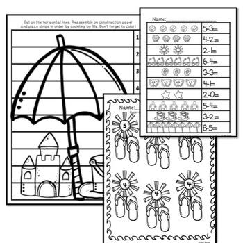 Kindergarten Beach Themed Math and ELA
