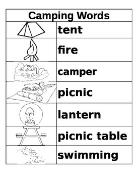 Kindergarten Bear Camp Vocabulary