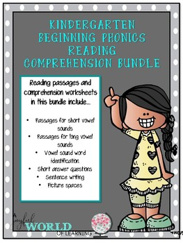 Kindergarten Beginning Phonics Reading Comprehension Bundle