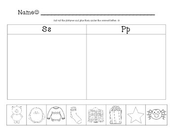Kindergarten Beginning Sound Sort 2