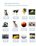 Kindergarten Beginning Sounds A-F worksheet