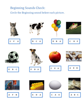 Kindergarten Beginning Sounds A-F worksheet
