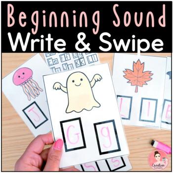 Kindergarten Beginning Sounds! Write & Swipe Cards, Posters & Worksheet