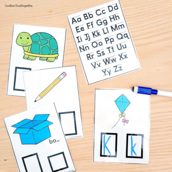 Kindergarten Beginning Sounds! Write & Swipe Cards, Posters and Worksheet