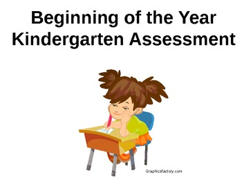 Kindergarten Beginning of Year Assessment & Check-off on Powerpoint