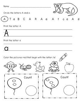 Kindergarten Beginning of Year Morning Work (First Set)