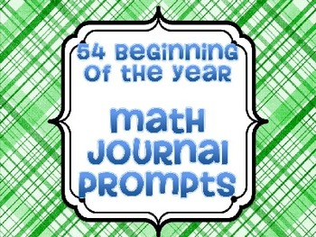 Kindergarten Beginning of the Year Math Journal Prompts