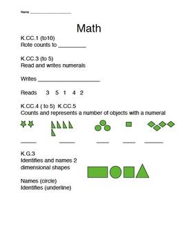 Kindergarten Beginning of the Year Math Review K.CC.1 K.CC