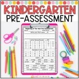 Kindergarten Beginning of the Year Pre-Assessment Form