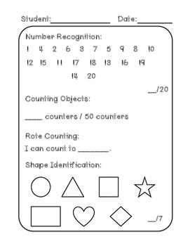 Kindergarten Beginning of the Year Skills Assessment