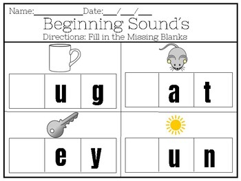 Kindergarten-Beginning sounds (fill in the missing letters)