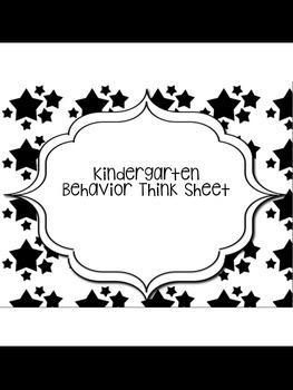 Kindergarten Behavior Think Sheet