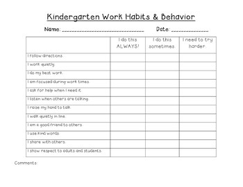 Kindergarten Behavior and Work Habits Form (Parent Teacher Conferences)