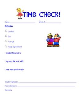 Kindergarten Behavior weekly form