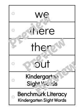 Kindergarten Benchmark Literacy Sight Word Strips