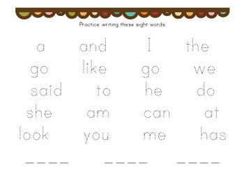 Kindergarten Binder Pack #1