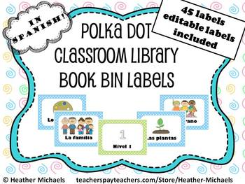 45 Kindergarten Blue Polka Dot Book Bin Labels in Spanish