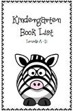 Kindergarten Book List