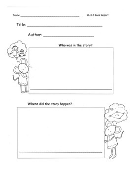 Book Report Characters Setting Events Opinion for any Book