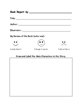 kindergarten book report form