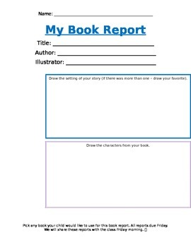 Kindergarten Book Report Readers Response Title Illustrator Setting Characters